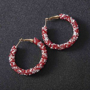 Boucles d'oreillesethnique rouge bohem