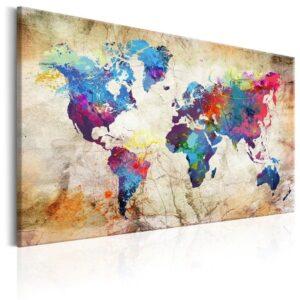 Tableau ethnique carte du monde jaune chic