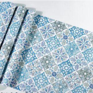 Papier peint ethnique carreaux bleu chic