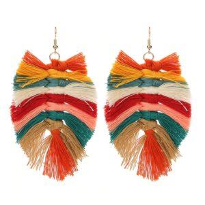 Boucles d'oreilles ethnique pompon multicolore chic