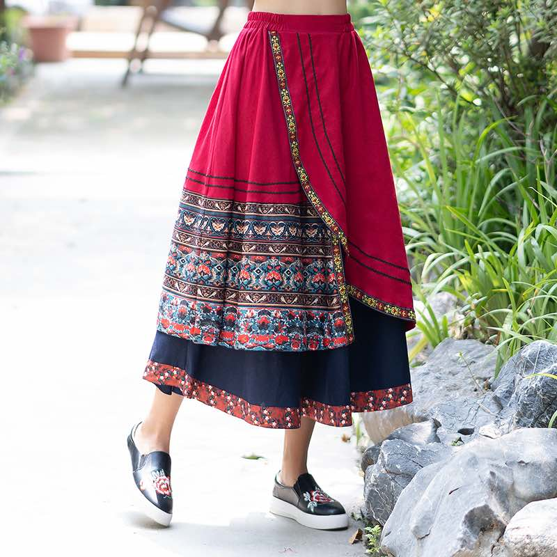 jupe ethnique traditionnel rouge chic