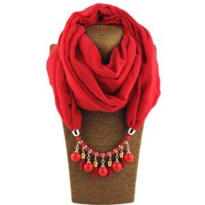 Foulard ethnique pendentif rouge chic