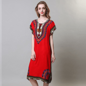 Robe ethnique africaine rouge chic