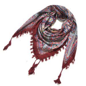 Foulard ethnique châle rouge foncé chic