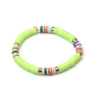 Bracelet ethnique argile vert pomme chic
