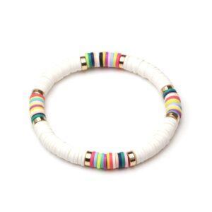 Bracelet ethnique argile blanc chic