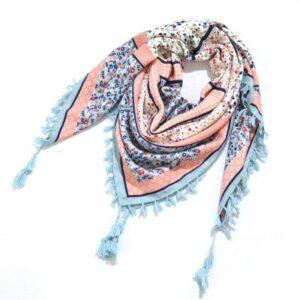 Foulard ethnique châle rose et bleu chic