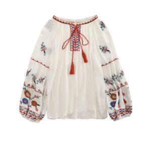 blouse ethnique pompon