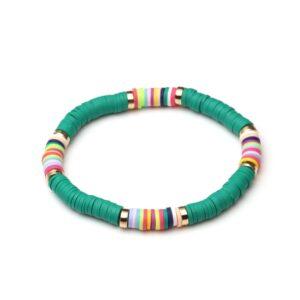 Bracelet ethnique argile vert chic