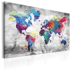 Tableau ethnique carte du monde gris chic