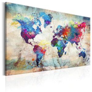 Tableau ethnique carte du monde bleu chic
