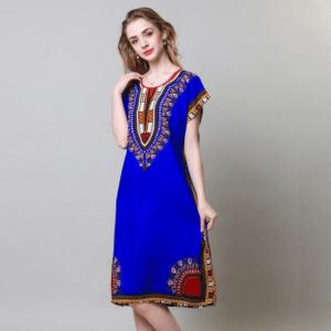 Robe ethnique africaine bleu royal chic