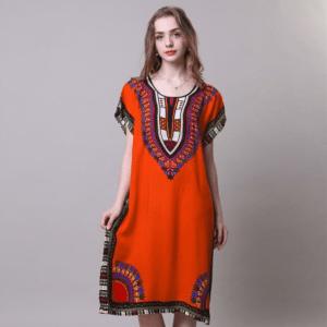 Robe ethnique africaine orange boheme
