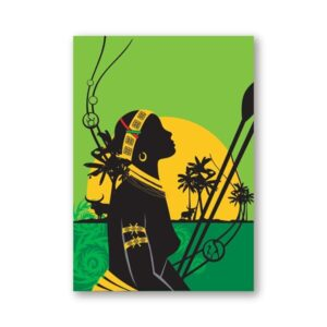Tableau ethniqueafricain chasseuse boheme