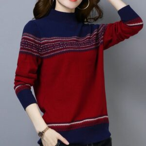 Pull ethnique patchwork rouge chic