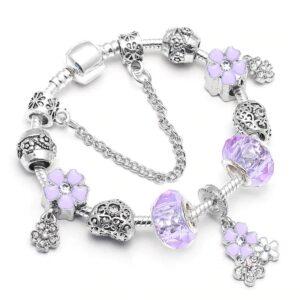 bracelet ethnique argent trèfle violet chic
