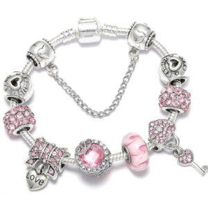 Bracelet ethnique argent love rose chic