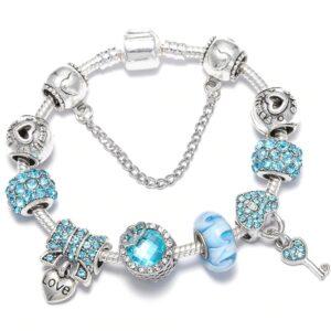 Bracelet ethnique argent love bleu chic