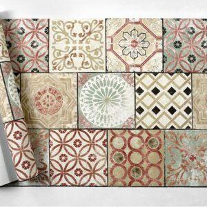 Papier peint ethnique carreaux baroque chic