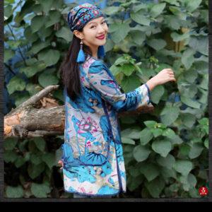 Chapeau ethnique brodé bleu chic