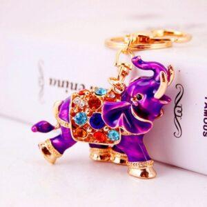 Porte-clé ethnique éléphant violet chic