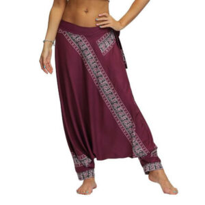 Pantalon ethnique traditionnel bordeaux chic