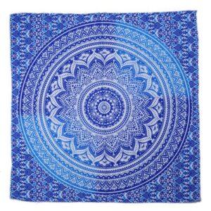 Serviette de plage carrée ethnique bleu bohem
