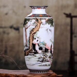 Vase ethnique chinois Panda boho