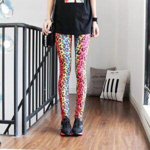 Legging ethnique panthère multicolore chic