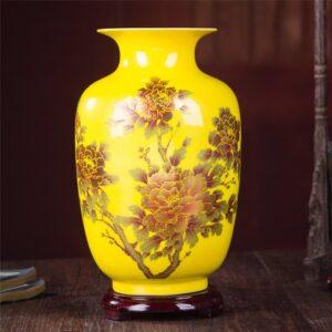 Vase ethnique Anhui jaune chic