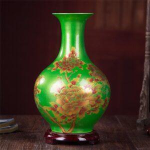 Vase ethnique Gansu vert chic