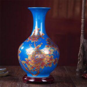 Vase ethnique Gansu bleu chic