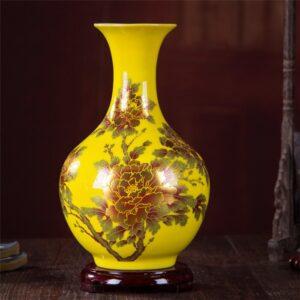 Vase ethnique Gansu jaune chic