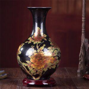 Vase ethnique Gansu noir chic