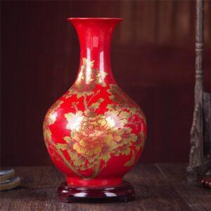 Vase ethnique Gansu rouge chic