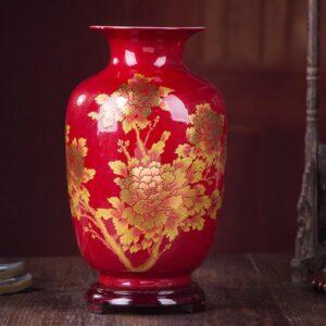Vase ethnique Anhui rouge boheme