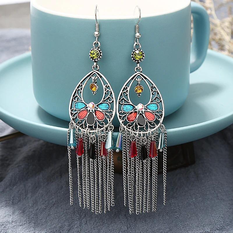 Boucles d'oreilles ethnique finesse multicolore bohem