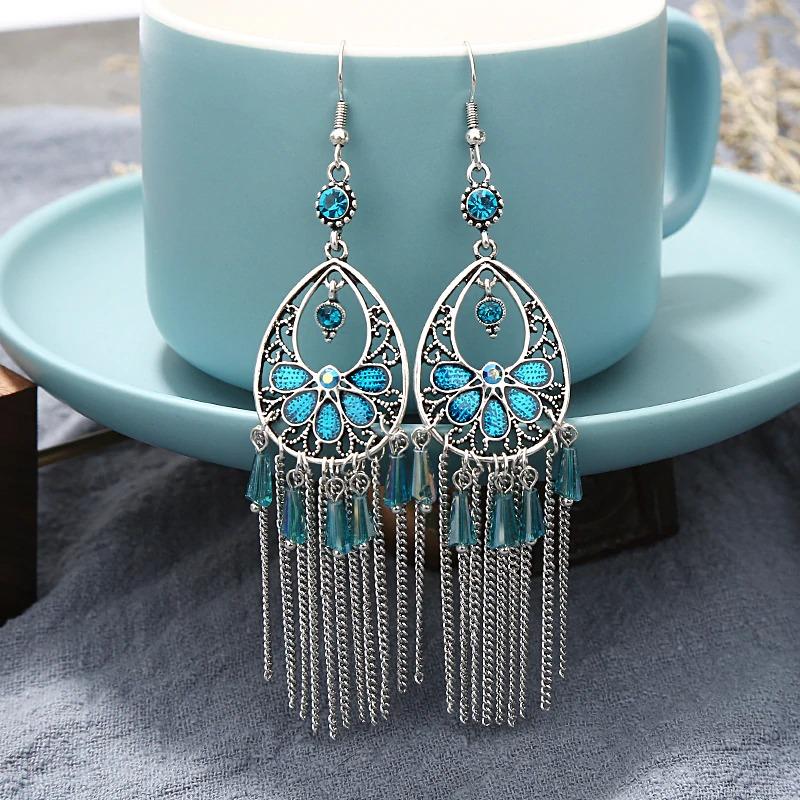 Boucles d'oreilles ethnique finesse bleu ciel bohem