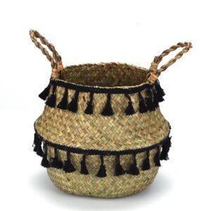 Panier ethnique herbier noir boheme