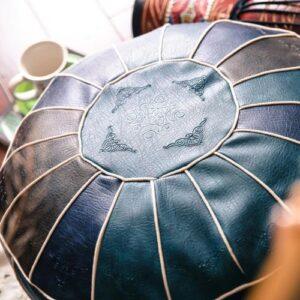Pouf ethnique marocain bleu boheme