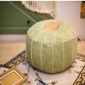 Pouf ethnique marocain vert chic