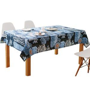 Nappe ethnique motif bleu chic
