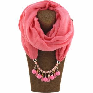 Foulard ethnique pendentif rose chic