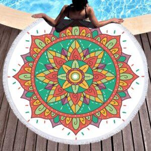 Serviette de plage ronde ethnique Ahmedabad boho