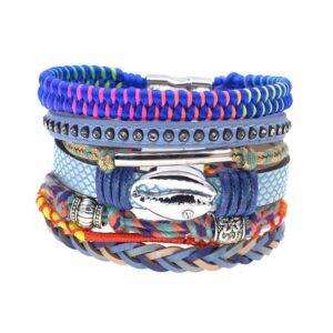 Bracelet ethnique bohème bleu chic