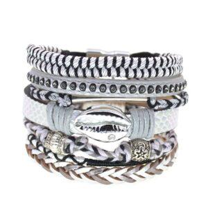 Bracelet ethnique bohème blanc chic