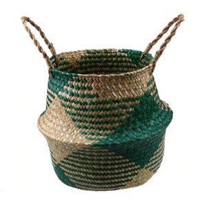 Panier ethnique rotin vert bobo