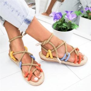 sandale ethnique lacet multicolore chic