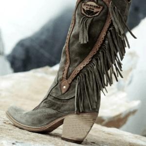 Botte ethnique zen kaki boho