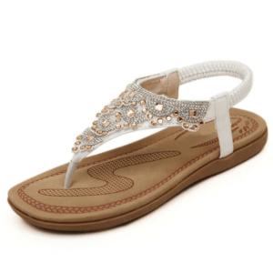 Sandale ethnique rétro blanc chic